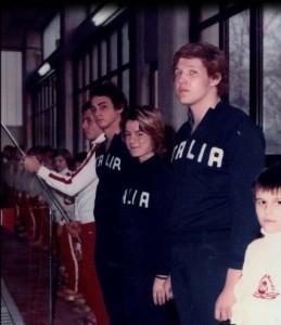 23 dicembre 1972. Michele Garufi, Alessandra Finesso e Riccardo Targetti, primi nazionali della Nuotatori Milanesi, all'inaugurazione della piscina di Rozzano Impianto dedicato al padre di Targetti, morto durante la costruzione.