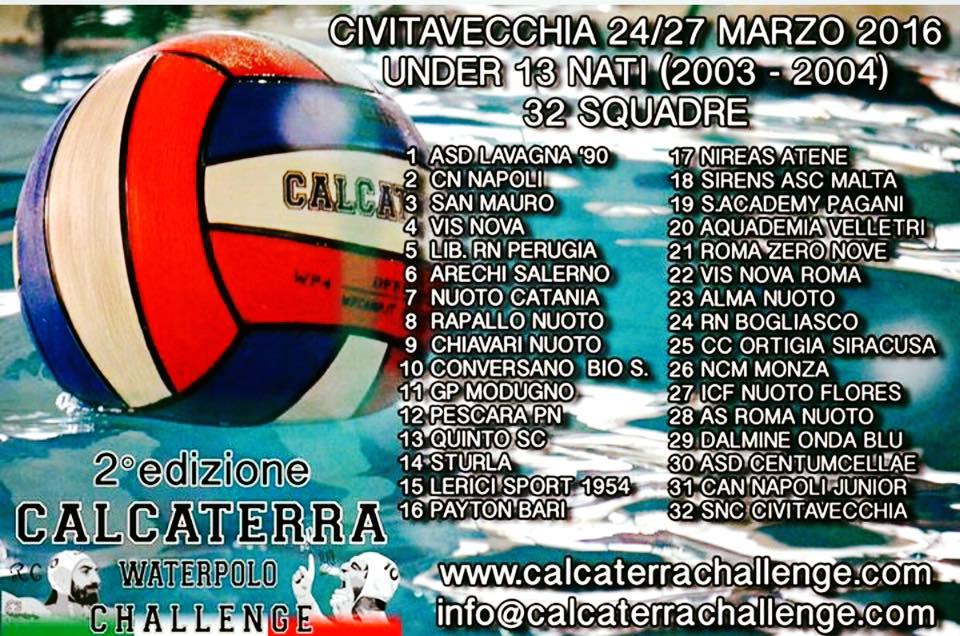Il Calcaterra Challenge 2016, da giovedì 24 a domenica 27 marzo a Civitavecchia