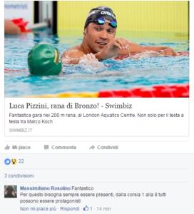 Il commento di Max Rosolino, su Facebook, all'articolo di Swimbiz.it