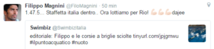 Filippo Magnini ha ritwittato e commentato l'editoriale