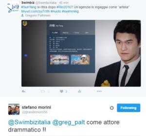 """Il commento sotto l'articolo di Swimbiz """"twittato"""" da Stefano Morini"""