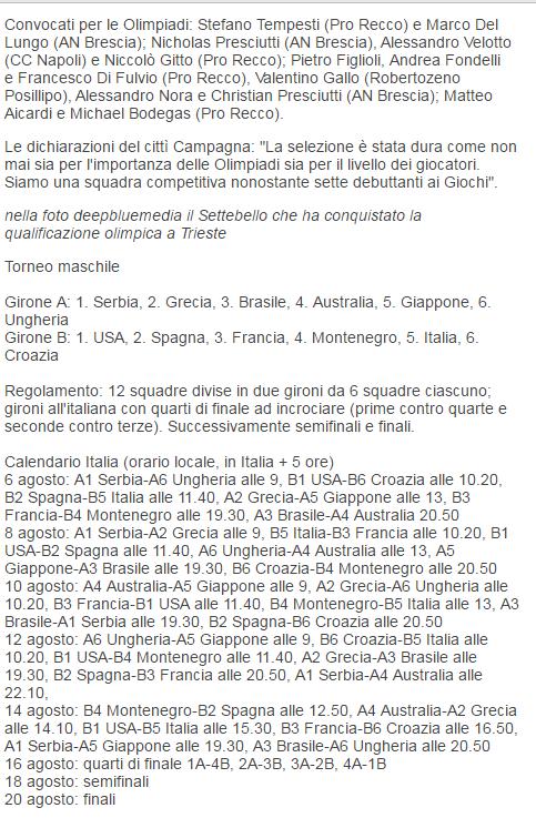 Convocati del Settebello e programma della pallanuoto a Rio 2016 (Fin)