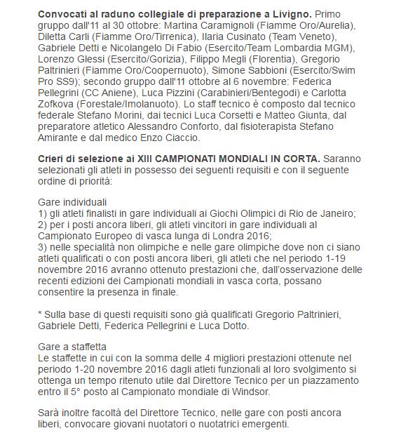 I convocati per il collegiale di Livigno e i criteri di selezione per Windsor 2016 (Fin)