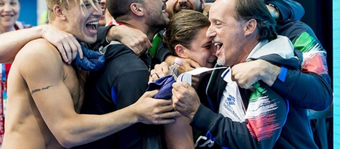 Oscar Bertone e l'Italtuffi in festa ai Mondiali di Budapest 2017