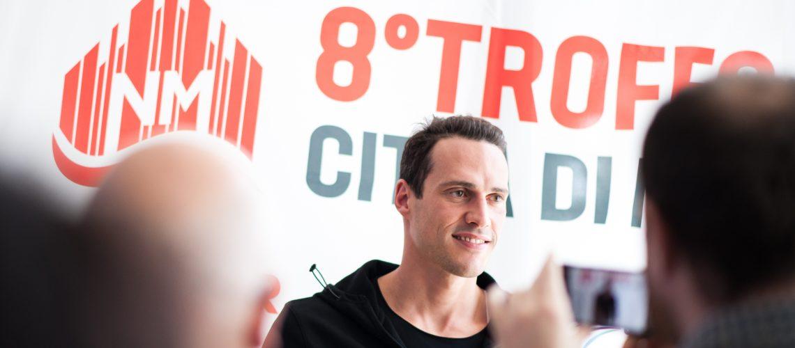 Fabio Scozzoli alla conferenza stampa di presentazione dell'8° Trofeo Città di Milano