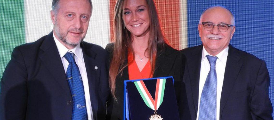 Da sx Carlo Allegrini, Alessia Zecchini e il Presidente Fipsas Ugo Claudio Matteoli