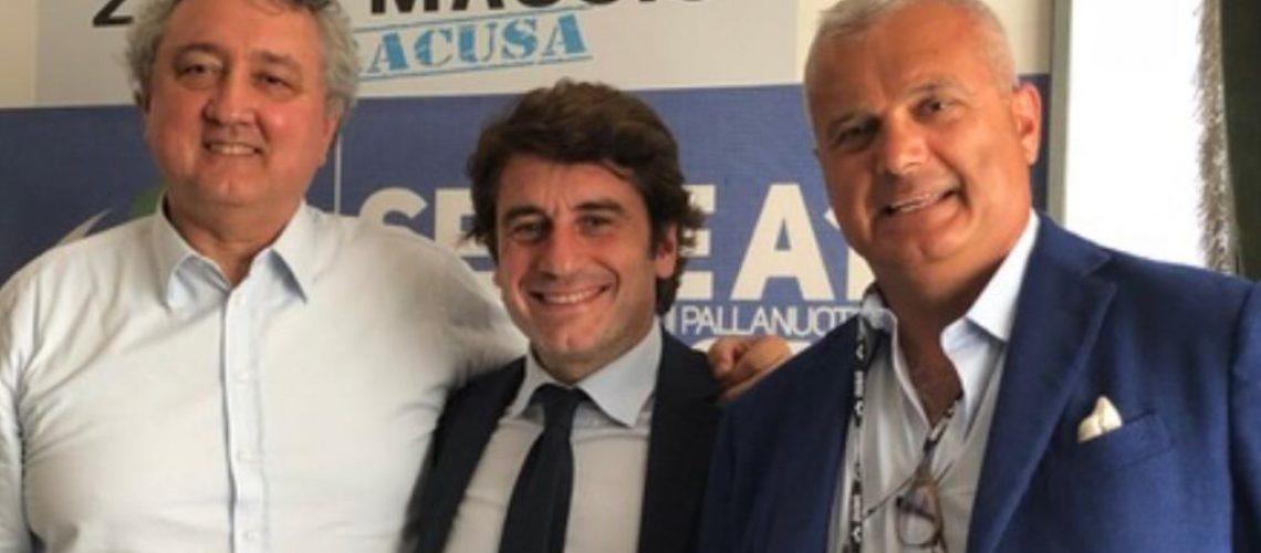 Da sx Paolo Barelli. Sergio Parisi e Sandro Campagna