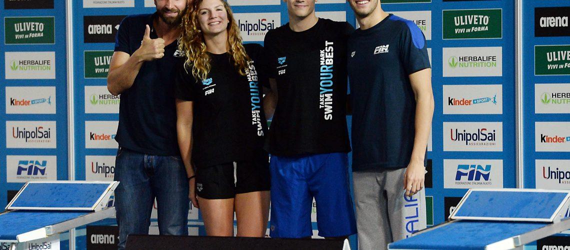 Ilaria Cusinato e Nicolò Martinenghi, vincitori di Arena Swim Your Best, tra Rosolino e Paltrinieri