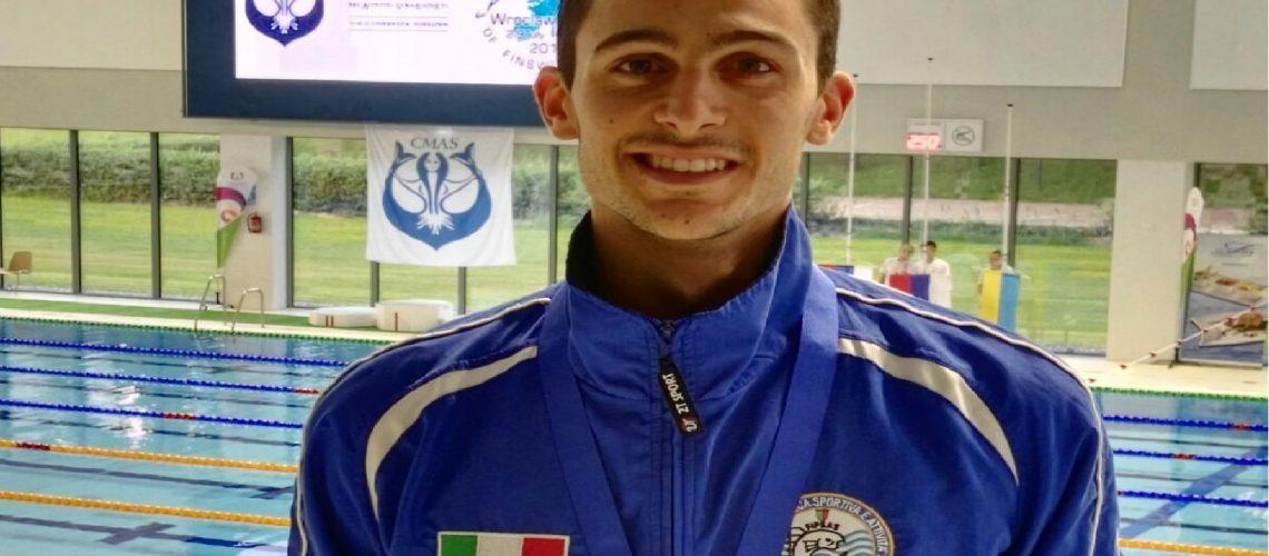 Davide De Ceglie, nazionale Fipsas di nuoto pinnato