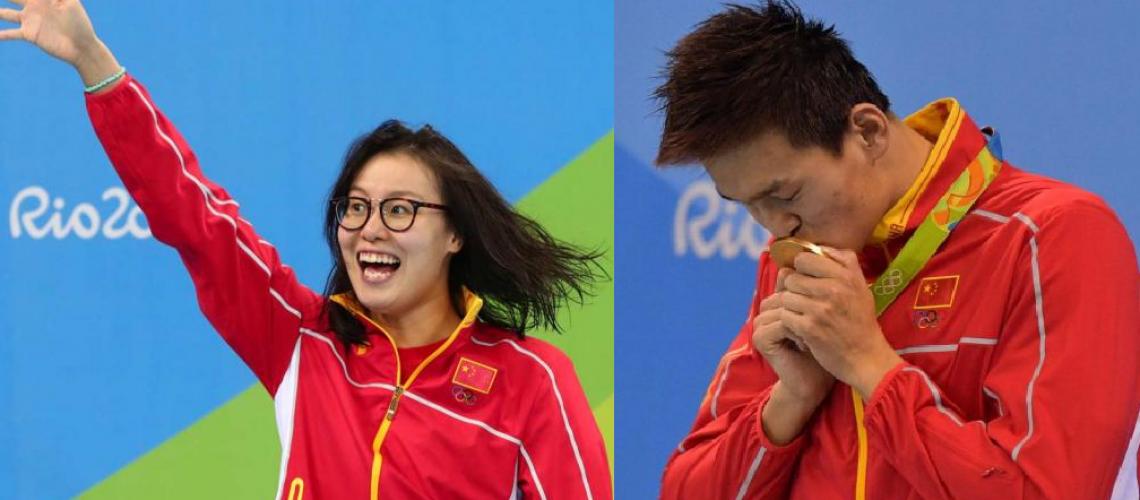 I due nuotatori cinesi Fu Yunahui e Sun Yang, medagliati a Rio 2016