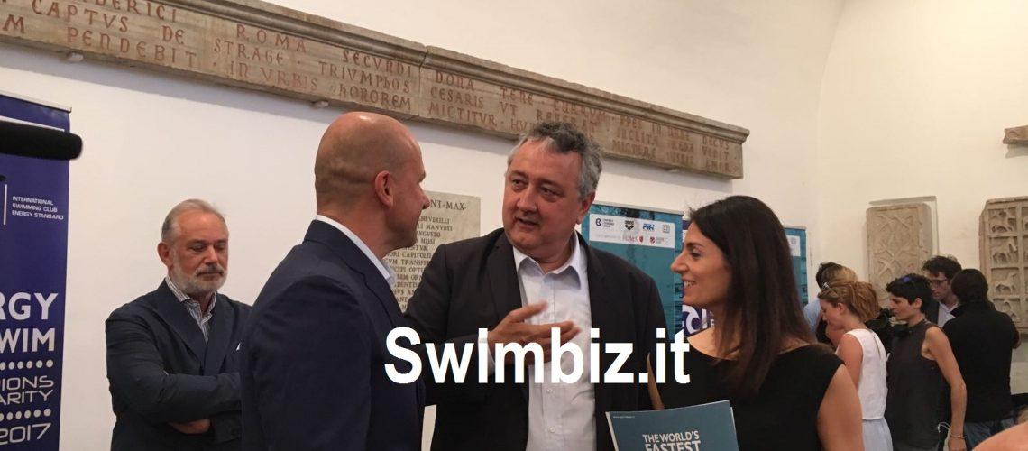 Il magnate ucraino Konstantin Grigorishin col Presidente Fin Paolo Barelli e la Sindaca di Roma Virginia Raggi