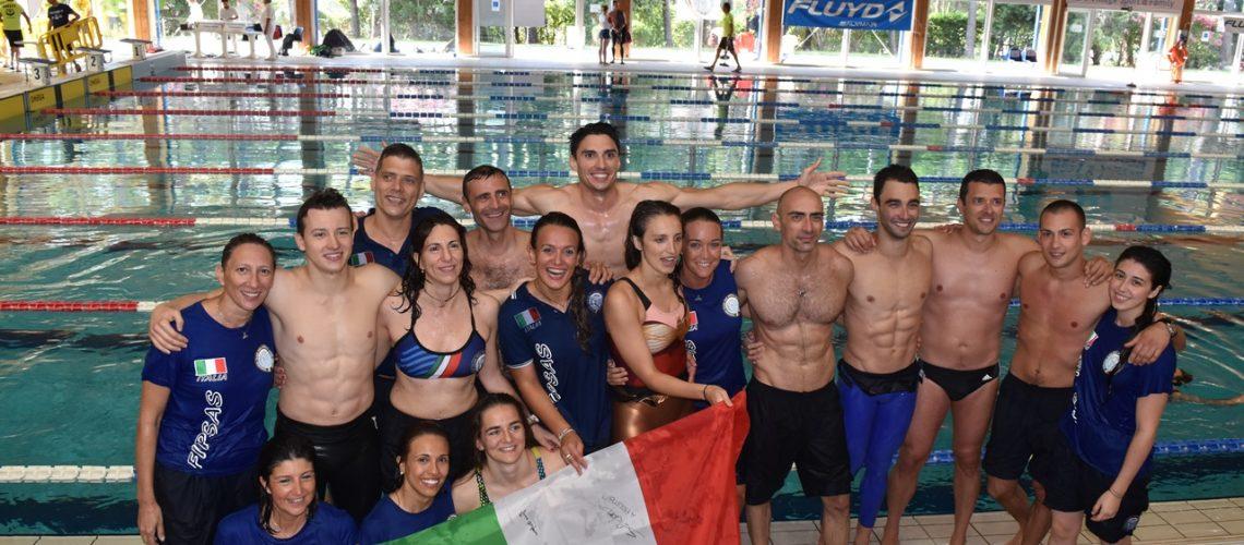La nazionale azzurra ai Mondiali di apnea indoor di Lignano