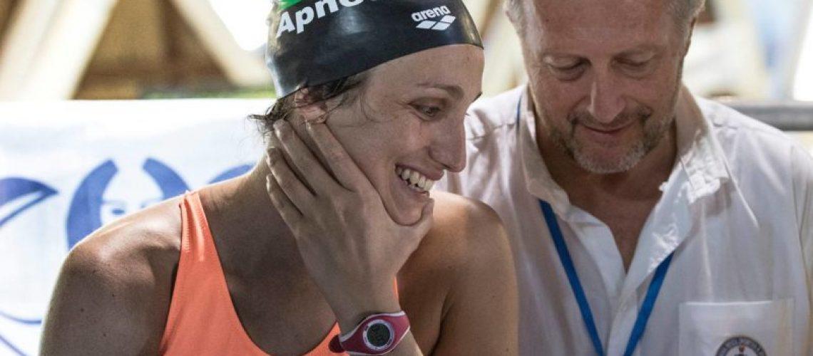 Martina Mongiardino con Carlo Allegrini., Responsabile attività subacquee e nuoto pinnato Fipsas
