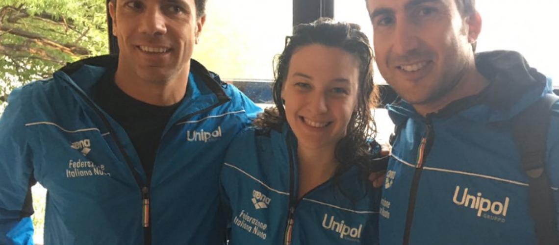 Arianna Bridi tra il Team Manager Stefano Rubaudo e il tecnico Fabrizio Antonelli.