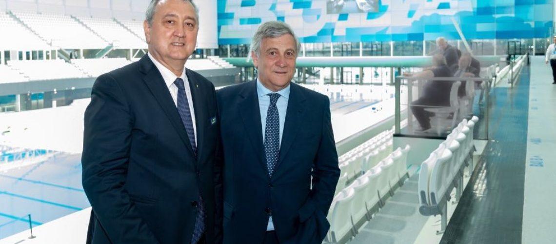 A sx Paolo Barelli, Presidente Len, col Presidente del Parlamento Europeo Antonio Tajani