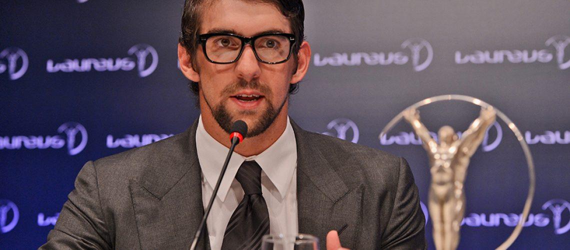 Michael Phelps dopo il Laureus Award vinto nel 2013